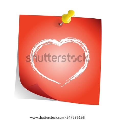Heart painted on sticky red paper note vector - stock vector