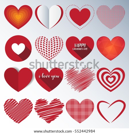 Heart Paper Sticker With Shadow Valentine's day. vector illustration Postcard