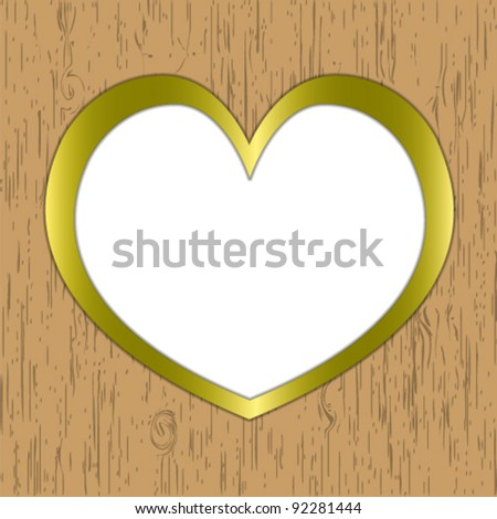 Heart pattern wooden frame gold border. - stock vector