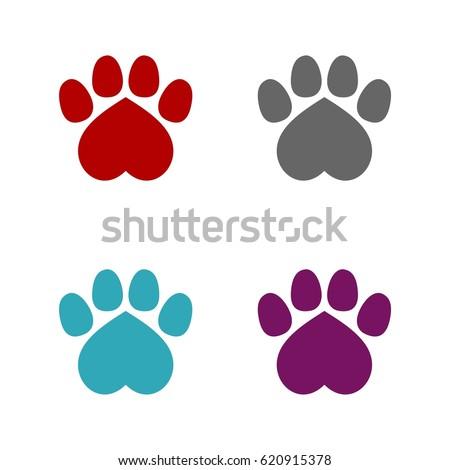 Heart paw print set logo template stock vector 620915378 heart paw print set logo template pronofoot35fo Choice Image