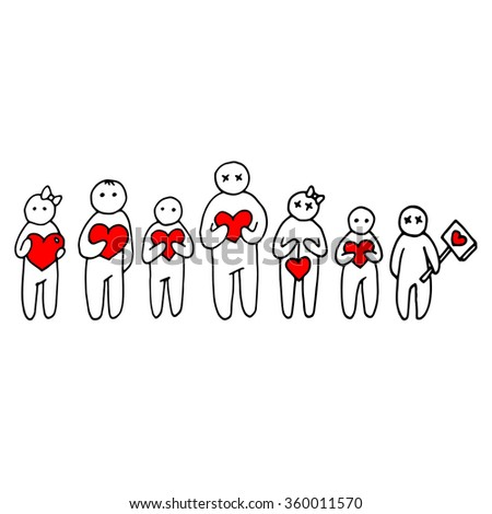heart people person love vector happy family illustration male cartoon man