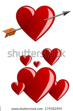 Heart pierced by an arrow of Amor. A lot of red hearts of different size flying like a balloons, vector art image illustration, isolated on white background eps10 - stock vector