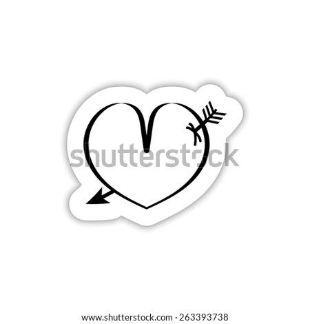 heart pierced by an arrow on a white background with shadow - stock vector