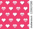 Heart pink seamless background, pattern - Valentines Day - stock photo