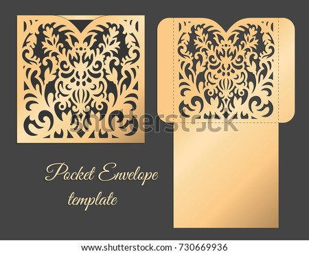 Heart Pocket Envelope Design Template Laser Stock Vector 730669936 ...