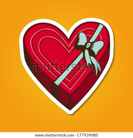 Heart present box with bow. Paper sticker imitation. Vector card concept. Romantic tender design - stock vector