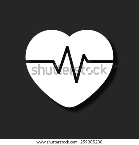 Heart Pulse Beat -  - vector icon with shadow - stock vector
