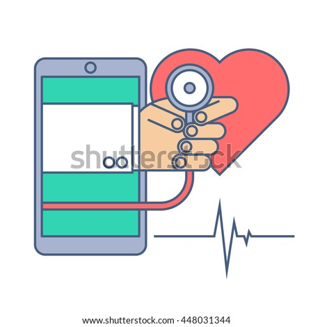 Heart pulse examination by phone. Telemedicine and telehealth flat line concept illustration. Doctor from phone holding a stethoscope in his hand. Vector tele health and online medicine element. - stock vector