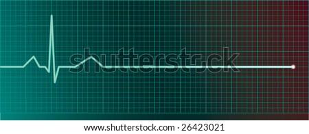 Heart pulse monitor with flatline - stock vector