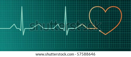 Heart pulse monitor with red heart shape - stock vector