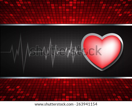 Heart pulse monitor with signal. Heart beat. dark black background. Light Abstract Technology background for computer graphic website internet and business. red Table background , Mosaic. pixel. - stock vector