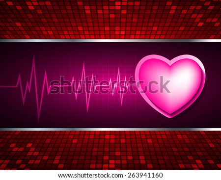 Heart pulse monitor with signal. Heart beat. dark pink background. Light Abstract Technology background for computer graphic website internet and business. red Table background , Mosaic. pixel. - stock vector