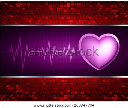 Heart pulse monitor with signal. Heart beat. dark purple background. Light Abstract Technology background for computer graphic website internet and business. red Table background , Mosaic. pixel. - stock vector