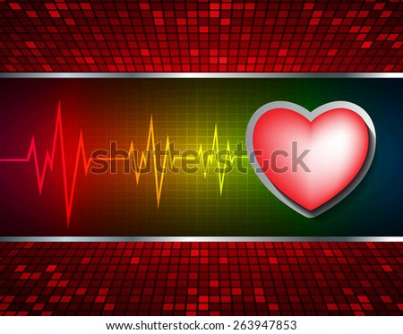 Heart pulse monitor with signal. Heart beat. dark red yellow background. Light Abstract Technology background for computer graphic website internet and business. red Table background , Mosaic. pixel.
