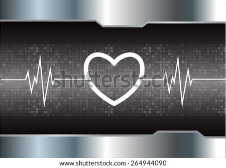 heart pulse monitor with signal. Heart beat. vector illustration. dark black background. silver.Pixel, mosaic, table - stock vector