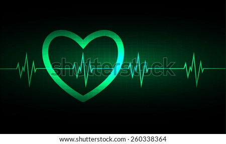 Heart pulse monitor with signal. Heart beat. vector illustration. dark green background