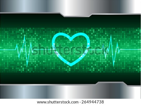 heart pulse monitor with signal. Heart beat. vector illustration. dark green background. silver.Pixel, mosaic, table - stock vector