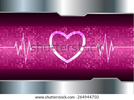 heart pulse monitor with signal. Heart beat. vector illustration. dark purple background. silver.Pixel, mosaic, table - stock vector