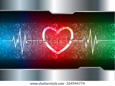 heart pulse monitor with signal. Heart beat. vector illustration. dark red blue green  background. silver.Pixel, mosaic, table - stock vector