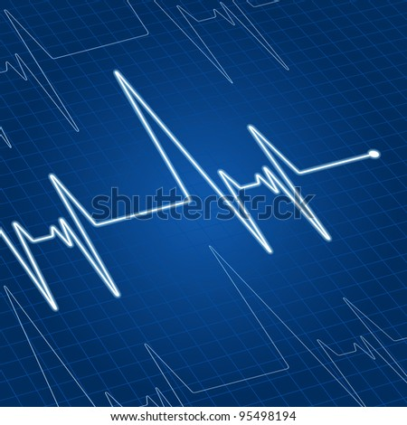 Heart pulse on blue screen for medicine and cardiology design - stock vector