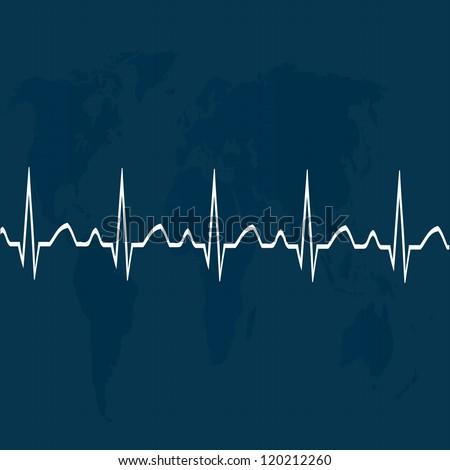 Heart pulse on map .eps10 - stock vector