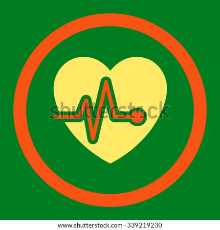 Heart Pulse vector icon. Style is bicolor flat rounded symbol, orange and yellow colors, rounded angles, green background. - stock vector