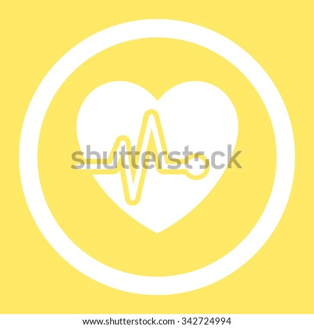 Heart Pulse vector icon. Style is flat rounded symbol, white color, rounded angles, yellow background. - stock vector