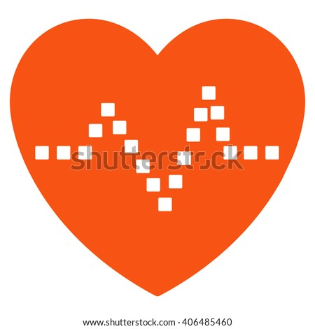 Heart Pulse vector toolbar icon. Style is flat icon symbol, orange color, white background, square dots. - stock vector