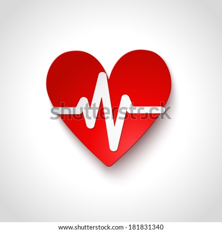 Heart rate emblem icon isolated vector illustration - stock vector