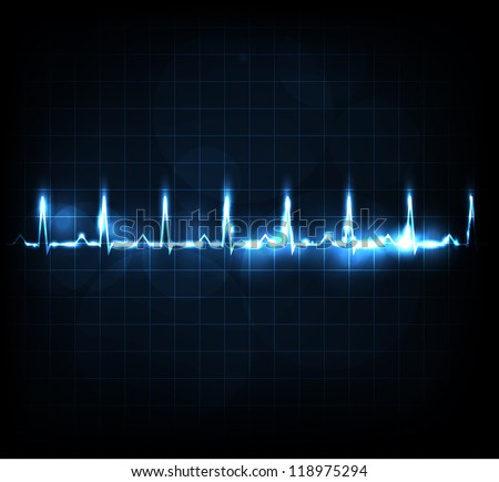 Heart rate monitoring. Beautiful bright design. - stock vector