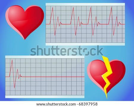 heart rate pulse vector illustration - stock vector