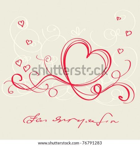 Heart red ribbon. Valentine`s day card - stock vector