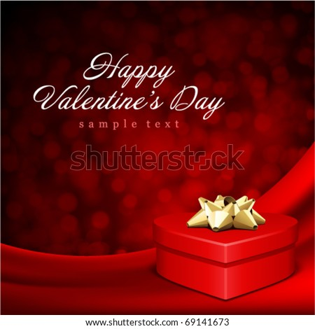 Heart red shiny gift on silk with light Valentine's day vector background - stock vector