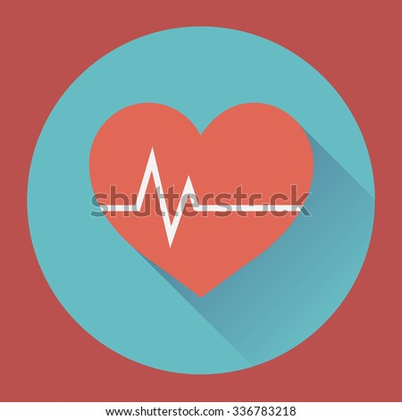 Heart rhythm and cardiogram. medical flat icon. - stock vector