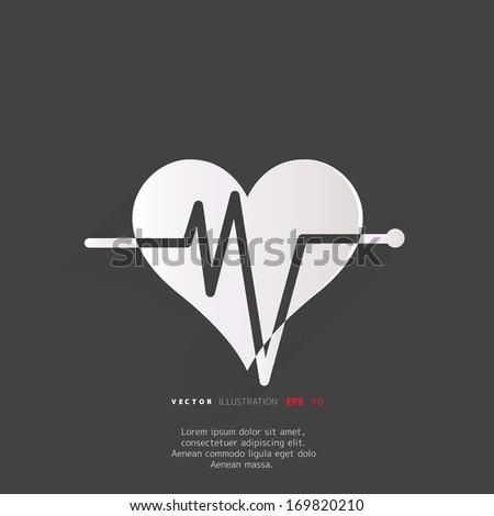 Heart rhythm, cardiogram, medical icon - stock vector