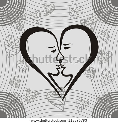 Heart romantic background vector illustration black white