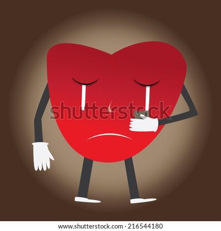Heart sad - stock vector