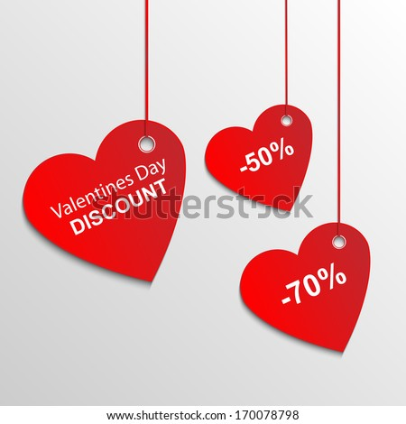 Heart sale tags - stock vector