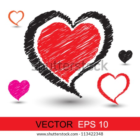 Heart scribble style, can use for love concept, wedding , valentines - stock vector