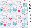 heart seamless background - stock vector
