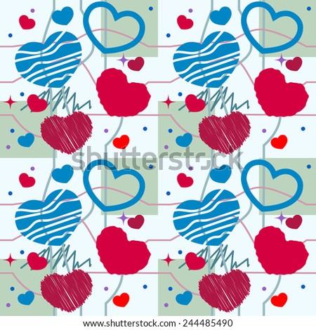 Heart seamless pattern - stock vector