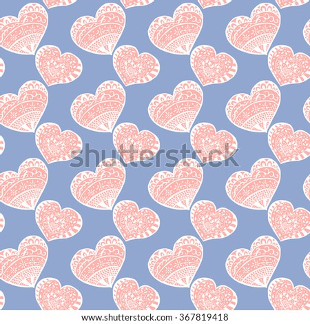 Heart seamless pattern lovely gentle vector. Vector holiday heart retro texture in colors of serenity and rose Quartz