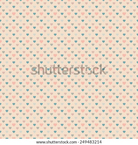 Heart seamless pattern. Vintage Color. Valentines day background. Valentines day.Vector illustration. - stock vector