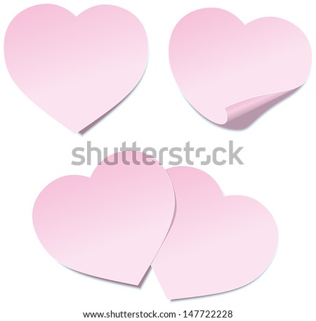 Heart Self Stick Notes - Self stick notes in heart shape. Vector illustration on white background. - stock vector