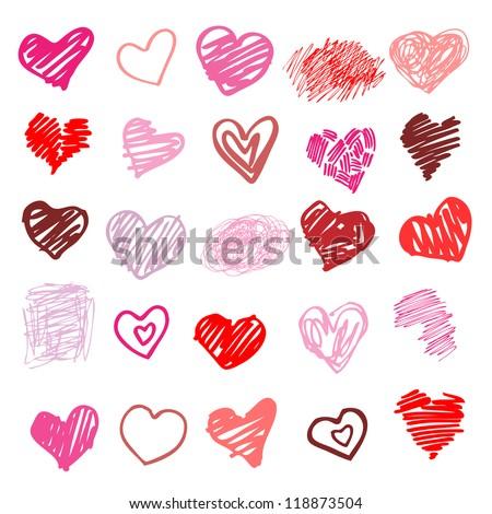 Heart. Set of design elements.  Vector illustration - stock vector
