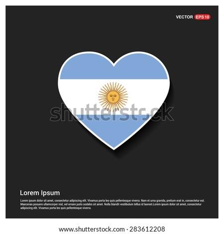 Heart Shape Argentina Flag - stock vector