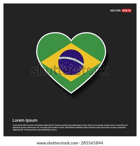 Heart Shape Brazil Flag - stock vector