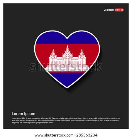 Heart Shape Cambodia Flag - stock vector