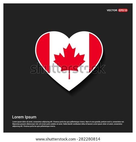 Heart Shape Canada Flag - stock vector