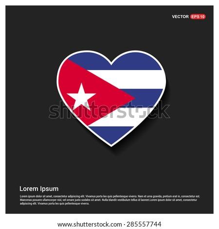 Heart Shape Cuba Flag - stock vector